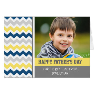 Blue Yellow Photo Happy Father's Day Card