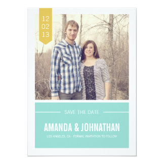 Blue & Yellow Photo Save The Date Announcements