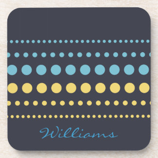 Blue Yellow Polka Dots Pattern Coaster
