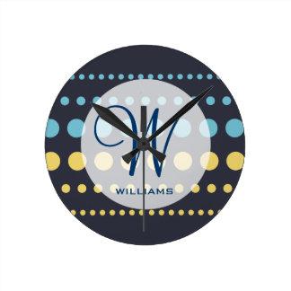 Blue Yellow Polka Dots Pattern Round Clock