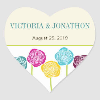 Blue Yellow Purple Pink Floral Typography Wedding Heart Sticker