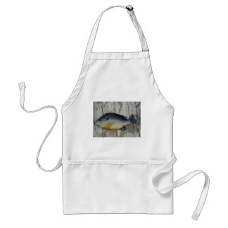 blue yellow purple teal, Bluegill fish on dock Adult Apron