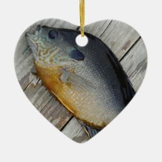 blue yellow purple teal, Bluegill fish on dock Ceramic Ornament