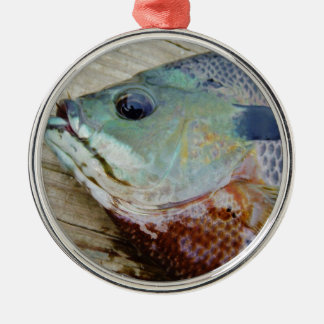 blue yellow purple teal, Bluegill fish on dock Metal Ornament