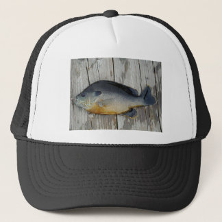 blue yellow purple teal, Bluegill fish on dock Trucker Hat