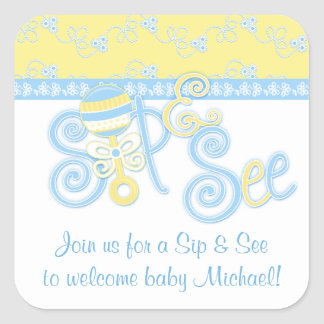 Blue Yellow Rattle Lace Sip N See Baby Shower Square Sticker