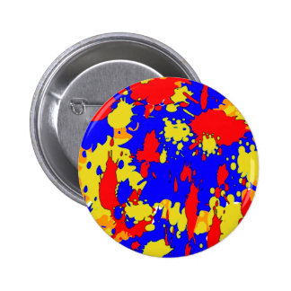 Blue Yellow Red Abstract Paint Splatters Button