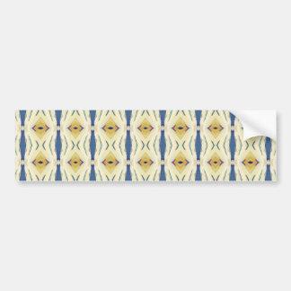 Blue Yellow Rhomb And Lines Geometric  Pattern Bumper Stickers