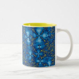 Blue & Yellow Ripples Fluid Fractal Mug