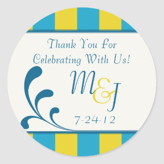 Blue & Yellow Round Striped Wedding Favor Labels