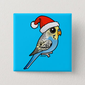Blue & Yellow Santa Budgie Pinback Button