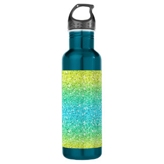 Blue & Yellow Sparkly Bits Stainless Steel Water Bottle
