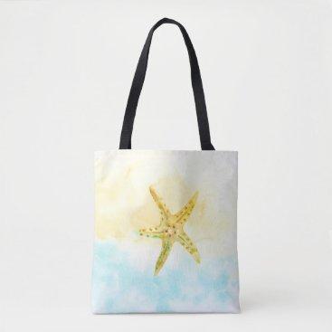 Beach Themed Blue Yellow Starfish Watercolor Tote Bag