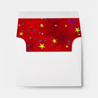 "Blue Yellow Stars Red BG A2 5.6"" x 4 1/8"" Envelope"