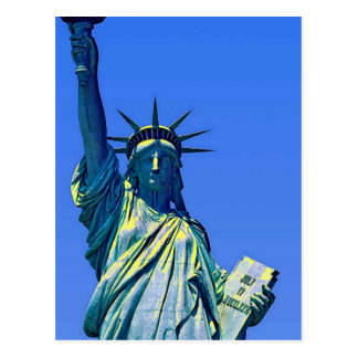 Blue Yellow Statue of Liberty Post Card