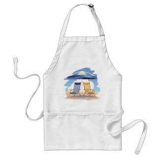 Blue & Yellow Striped Beach Chairs & Umbrella Adult Apron