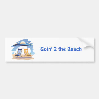 Blue & Yellow Striped Beach Chairs & Umbrella Bumper Sticker