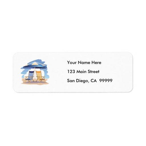 Blue & Yellow Striped Beach Chairs & Umbrella Custom Return Address Labels