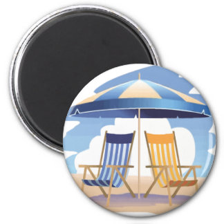 Blue & Yellow Striped Beach Chairs & Umbrella 2 Inch Round Magnet