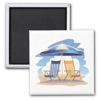 Blue & Yellow Striped Beach Chairs & Umbrella 2 Inch Square Magnet