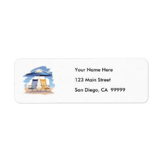 Blue & Yellow Striped Beach Chairs & Umbrella Return Address Label