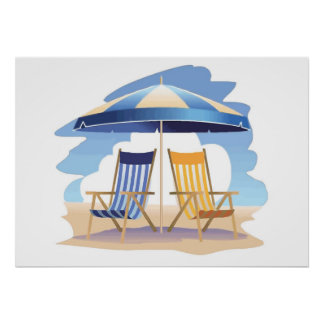 Blue &Yellow Striped Beach Chairs & Umbrella REV Poster