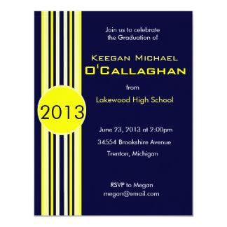 Blue & Yellow Striped Graduation Party Invitation