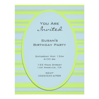 blue yellow striped party personalized flyer