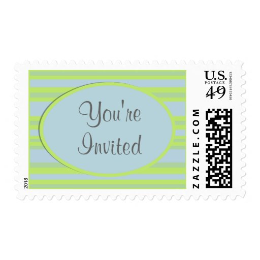 blue yellow striped party stamp