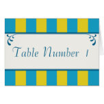 Blue & Yellow Striped Wedding Table Number Cards Greeting Cards