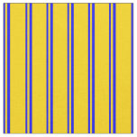 [ Thumbnail: Blue & Yellow Stripes Fabric ]
