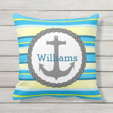 Beach Themed Blue Yellow Stripes Nautical Anchor Personalized Throw Pillow