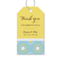 Blue Yellow Sunflower Pattern Gift Tag for Wedding