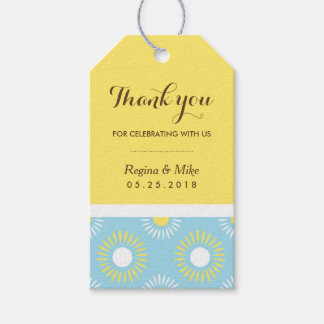 Blue Yellow Sunflower Pattern Gift Tag for Wedding Pack Of Gift Tags