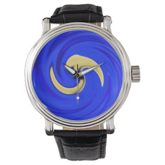 Blue Yellow Swirl Wristwatch