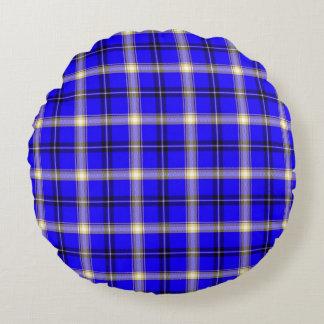 Blue Yellow Tartan Plaid Round Cushion Round Pillow