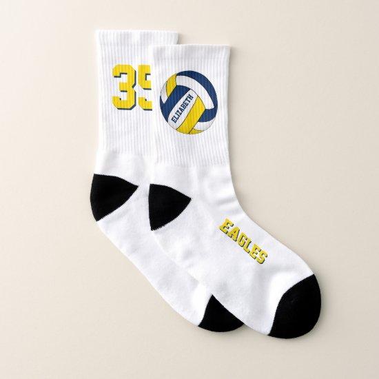 blue yellow team colors fun girls volleyball socks