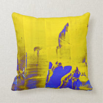 Blue yellow throw pillow