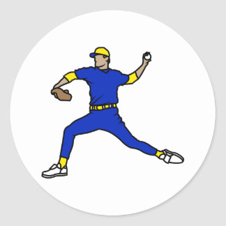 Blue Yellow Throwing Player Classic Round Sticker