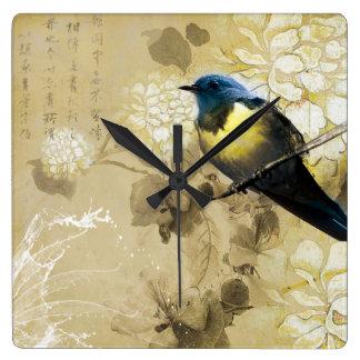 Blue Yellow Thrush Bird - Chinese Painting Art Square Wallclocks
