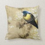 Blue Yellow Thrush Bird - Chinese Painting Art Pillow