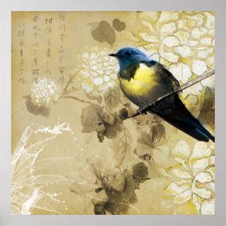 Blue Yellow Thrush Bird - Chinese Painting Art Print