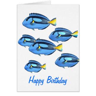 Blue & Yellow Tropical Fish Card