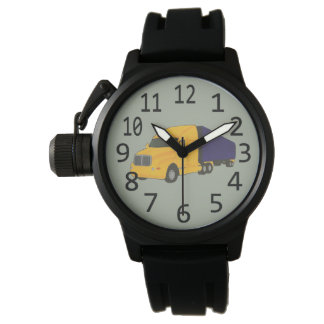Blue Yellow Truck Tractor Trailer Custom Watches
