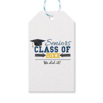 Blue Yellow Typography Graduation Gift Tags