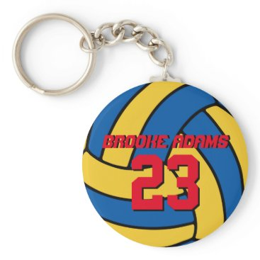 Beach Themed Blue Yellow Volleyball Sports Team Keychain
