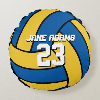 Blue Yellow Volleyball Sports Team Round Pillow