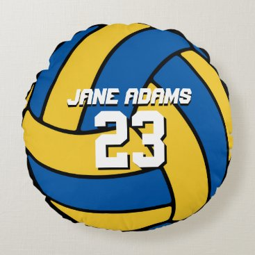 Beach Themed Blue Yellow Volleyball Sports Team Round Pillow
