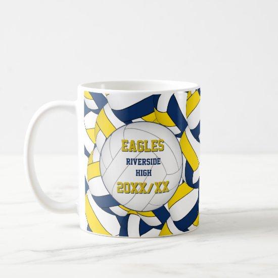 blue yellow volleyball team coach thank you gift coffee mug