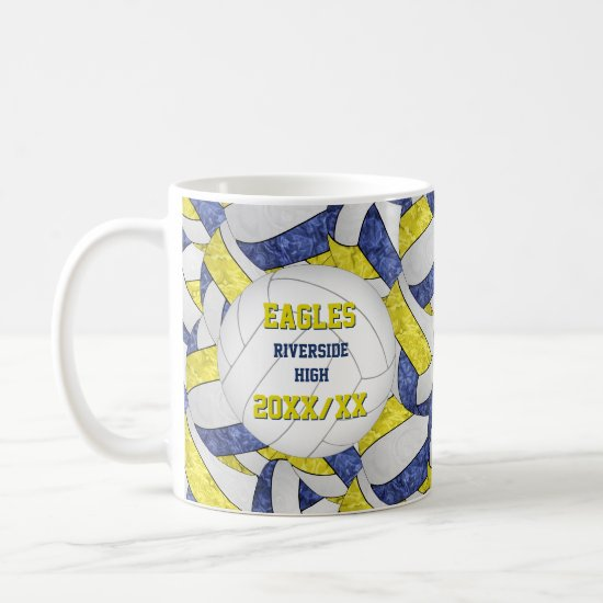 blue yellow volleyball team colors coach thank you coffee mug